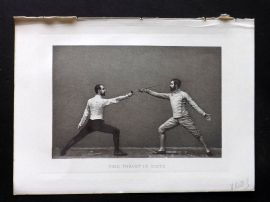 Badminton Library 1893 Antique Sword Fencing Print. Time Thrust in Sixte